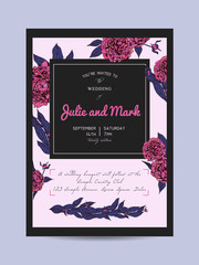 Botanic invitation set decorated with peonies