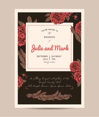 Botanic invitation set decorated with peonies