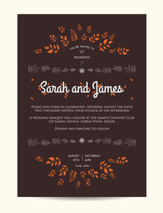 wedding floral invitation decorated with leaves