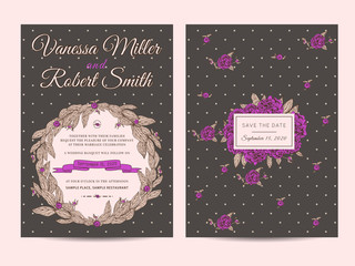 Vintage wedding invitation decorated with peonies