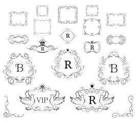 Collection of vintage royal vignette with doves and crown for vip design