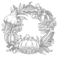 Vector garden wreath round frame in doodle style