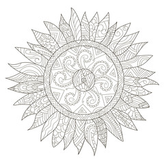 Mandala flower sunflower coloring vector for adults
