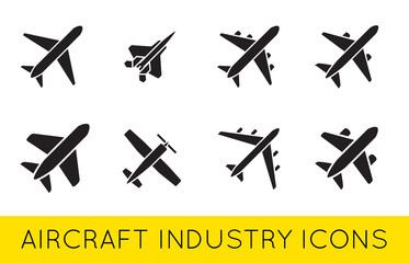 Aircraft or Airplane Icons Set Collection Vector Silhouette.Set