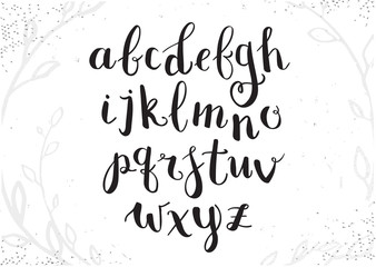 Vector Hand Drawn Script Alphabet. Letters Written with a Brush