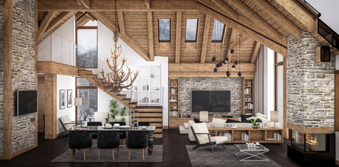 3D rendering of  living room of chalet Wall mural