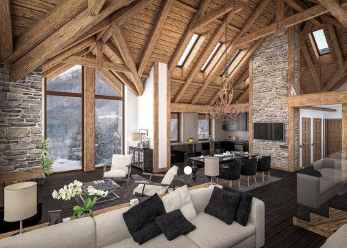 3D rendering of  living room of chalet