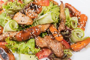 Salad with roasted pork