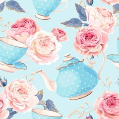 Seamless teapots, cups and flowers