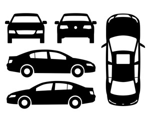 Vector car black and white, four view, top, side, back, front. Flat illustration icons