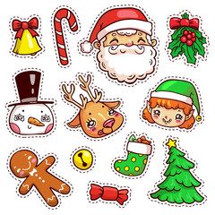 Colorful patch badges of different Merry Christmas attributes. Set of Happy New Year stickers, pins, magnets in cartoon comic style. Santa Claus, snowman, elf, deer, gingerbread man.