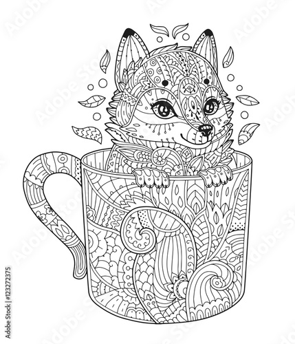 Fox In Cup Adult Antistress Coloring Page With Animal Zentangle Style Vector Illustration