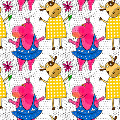 Doodle pink hippo ballerina and cow characters seamless pattern with retro halftones. Kid's drawings style..
