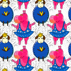 Doodle pink hippo ballerina and blue sheep seamless pattern with retro halftones. Kid's drawings style