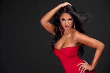 brunette in red dress