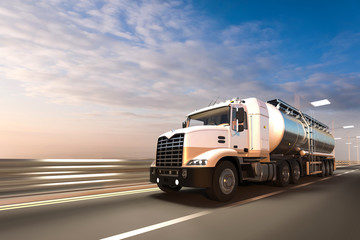 3D rendering of Tanker on the road at dawn