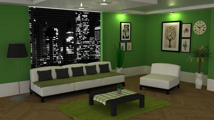 Modern living room. 3D rendering.