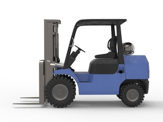 Small blue forklift truck