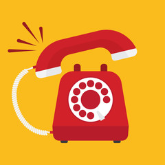 Retro styled red telephone ringing