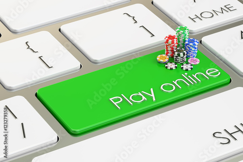 Play Online On Keyboard Button 3d Rendering Stockfotos