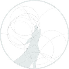 Silhouette of howling wolf created by circles. Round monochrome image