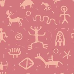 vector ancient cave petroglyphs seamless pattern