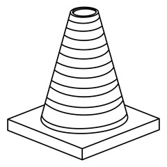 cone road sign icon. Information guide and message theme. Isolated design. Vector illustration