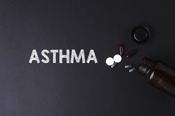 ASTHMA word with medicine and bottle - Health concept. Medical