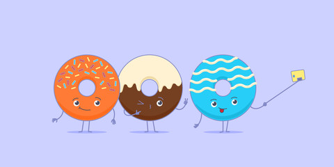 Three kawaii donuts taking a picture using selfie stick and mobile phone.
