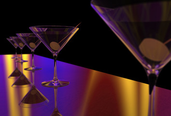 Martini Glasses 3D render