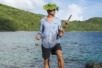 Castaway on deserted island