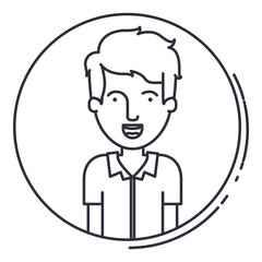 Man cartoon inside circle icon. Avatar people person and human theme. Isolated design. Vector illustration