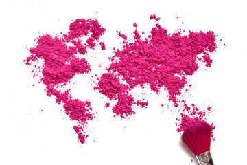 Map of world from color cosmetic with brush isolated on a white