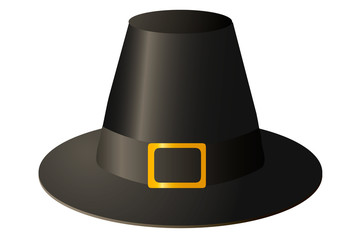 Vector illustration. Pilgrim hat with gold buckle on white background.