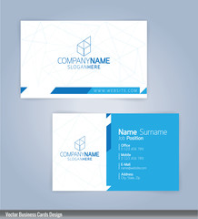 Modern creative and clean business card Design template. Blue and white template