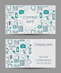 Vector business card templates dental clinic. Dental modern business card.