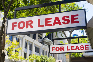 For Lease signs on display outside buildings