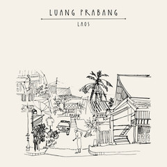 Old Lao lady in the street in Luang Prabang, Laos, Southeast Asia. Vintage hand drawn touristic postcard