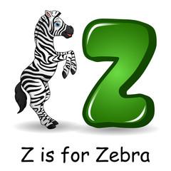 Animals alphabet: Z is for Zebra