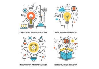 Idea and Imagination Icons Set