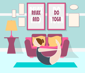 flat vector illustration of yoga at home