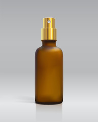 Frosted Amber Glass Bottle W/ Gold Spray Top