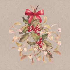 Watercolor Christmas Mistletoe and Holly Bouquet