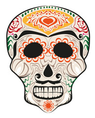Day of Dead painted skull. Dia de Muertos translated from Spanish