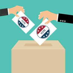 Presidential Election Day Vote Box. American Flag's Symbolic Ele