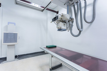 X-ray room in a hospital ER operating room with a classic ceilin