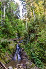 Wutach Gorge with river and waterfalls - Walking in beautiful landscape of the blackforest, Germany