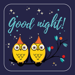 couple of cute vector owls with hats on the tree branch. Children s illustration quote good night for the cards. design printing paper, fabric or web