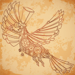 Mechanical bird in steampunk style on aged paper background. Vintage hand drawn vector illustration