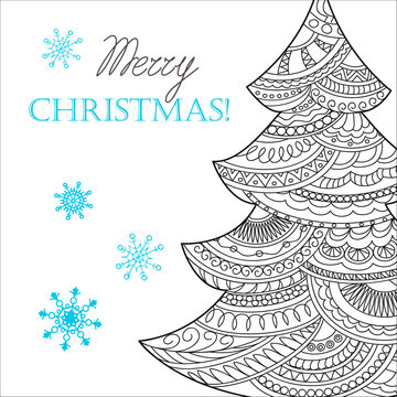 Christmas card with hand drawn decorated fir-tree